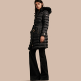 Burberry Down-filled Coat with Fox Fur Trim Hood, Black