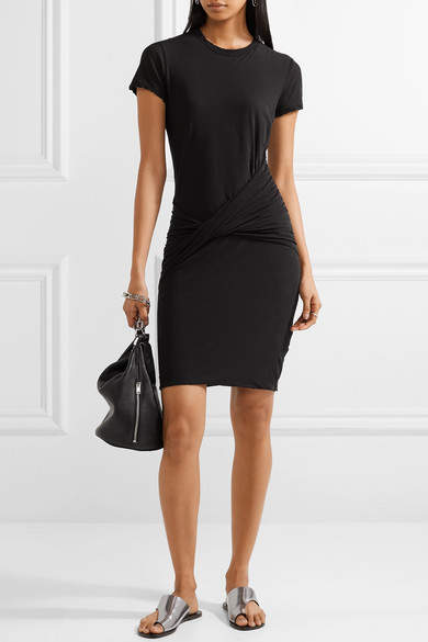 James Perse Twist-front Ruched Stretch Cotton-jersey Mini Dress
