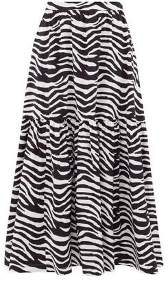 STAUD Orchid Zebra-print Cotton-blend Midi Skirt - Black White