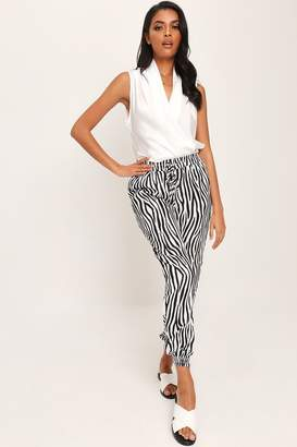 I SAW IT FIRST Black/White Satin Zebra Print Cuffed Joggers