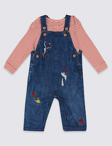 Marks and Spencer 2 Piece Bear Embroidered Dungarees & Bodysuit