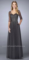 La Femme Bursting Beaded Sheer Three-quarter Sleeve Evening Dress