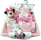 BASSKET.COM Complete Newborn Baby Girl Gift Set/ Basket, (0-6 Months), 29 Piece Bundle Filled Basket of Baby Gift Items, Perfect ideas for Birthdays, Easter, Christmas, Get Well, or Other Occasion!
