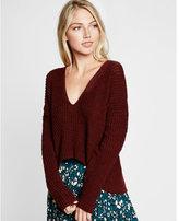 Express dark red textured knit v-neck split back sweater