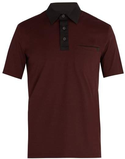 Prada Contrast Collar Cotton Blend Polo Shirt - Mens - Burgundy Multi