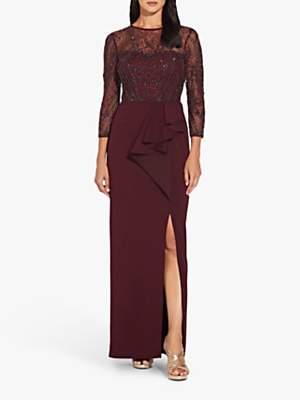 Adrianna Papell Beaded Split Column Dress, Burgundy