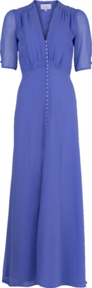 Luisa Beccaria Double Lined Slit Maxi Dress
