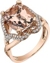 Ice 5 5/8 CT TW Morganite 14K Rose Gold Radiant Cut Halo Ring with Diamond Acccents