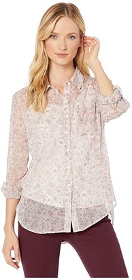 Vince Camuto Long Sleeve Floral Layers Shirred Shoulder One-Pocket Shirt (Soft Pink) Women's Clothing