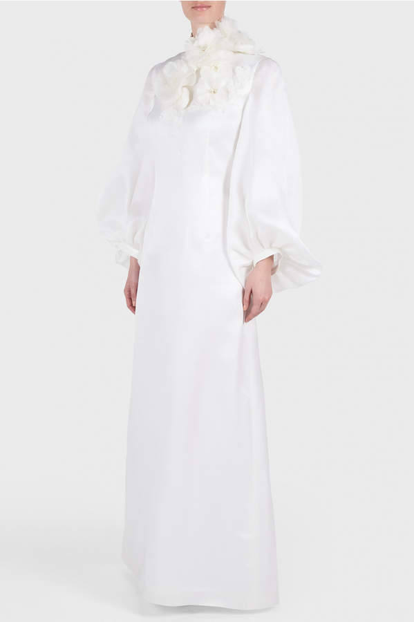 Andrew Gn Bubble Sleeve Embroidered Gown