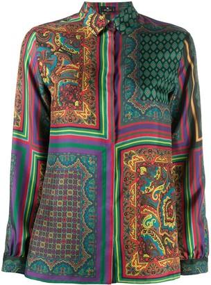 Etro Print Mix Long-Sleeve Shirt