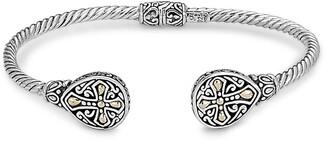 Samuel B. Sterling Silver & 18K Gold 3mm Twisted Cable Cross Endcap Bangle Bracelet