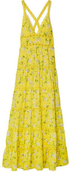 Alice + Olivia Alice Olivia - Karolina Crochet-trimmed Floral-print Chiffon Maxi Dress - Bright yellow