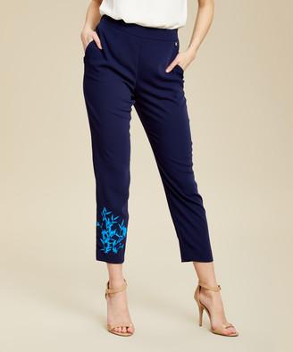 Ted Baker Women's Sweatpants DK-BLUE - Dark Blue Floral-Embroidery Quavey Crop Skinny Pants - Women