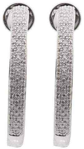 Monica Vinader Silver Fiji Large Diamond Hoop Earrings