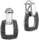 John Hardy Classic Chain Silver Door Knocker Earrings with Black Sapphires