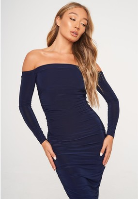 Missguided Bardot Slinky Ruched Midaxi Dress - Navy