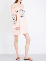 Free People Fleur du Jour off-the-shoulder cotton-twill mini dress