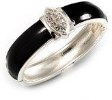 Avalaya Statement Black Enamel Crystal Hinged Bangle Bracelet (Silver Tone)