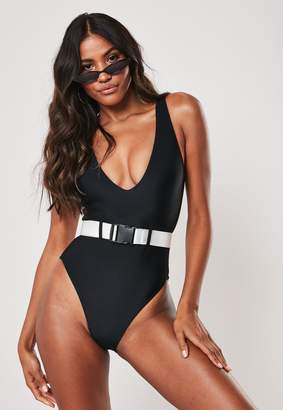 Missguided Black Belted Plunge Swimsuit