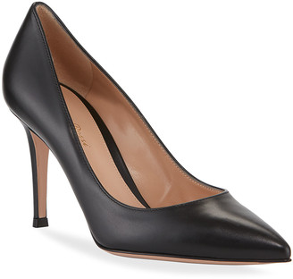 Gianvito Rossi Gianvito 85 Vitello Leather Point-Toe Pumps