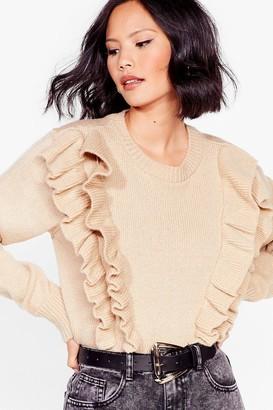 Nasty Gal Womens We Frill Be There Ruffle Knit Sweater - Mushroom