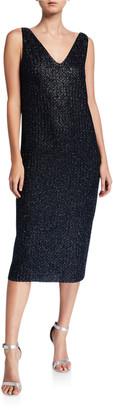St. John Beaded Metallic V-Neck Sleeveless Midi Dress