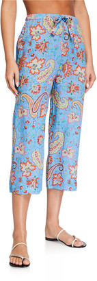Etro Rami Paisley-Print Drawstring Coverup Pants