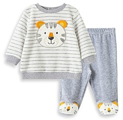 Little Me Boys' Velour Tiger Top & Footie Pants Set - Baby