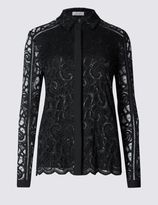 Marks and Spencer Sparkle Lace Long Sleeve Blouse