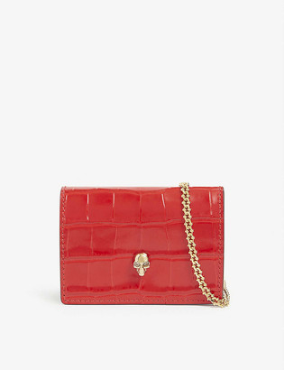 Alexander McQueen Crocodile-embossed leather cardholder with gold chain