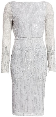 Rachel Gilbert Long-Sleeve Allover Ombre Beaded Sheath Dress