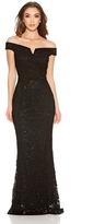 Quiz Black Sequin Lace Bardot Fishtail Maxi Dress