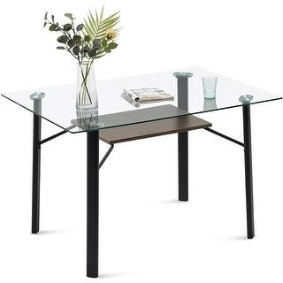 6090 5203 Glass Top Dining Table Modern Glass Kitchen Table for 4/6