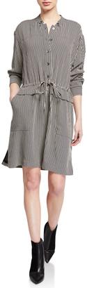 Equipment Lizza Striped Button-Front Tie-Waist Dress