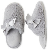 Dearfoams Faux Fur Bow Clog Slippers