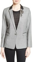 The Kooples Women's Leather Trim Suit Jacket