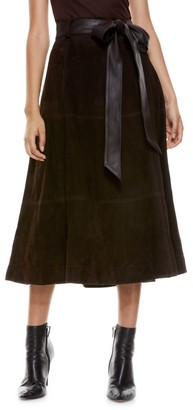 Alice + Olivia Martine Suede Midi Skirt