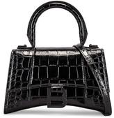 Balenciaga XS Embossed Croc Hourglass Top Handle Bag in Black | FWRD
