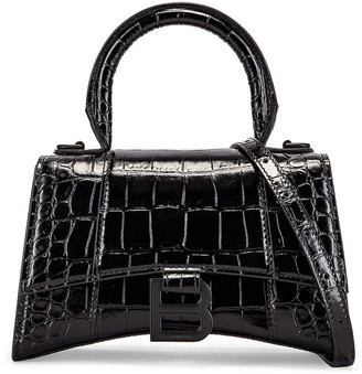 Balenciaga XS Embossed Croc Hourglass Top Handle Bag in Black | FWRD