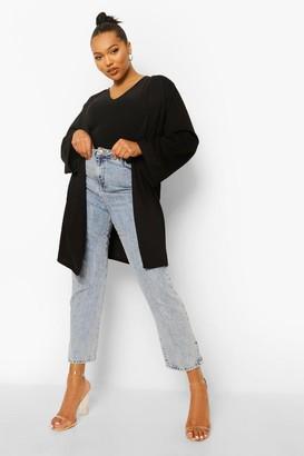 boohoo Plus Crepe Kimono Sleeve Duster