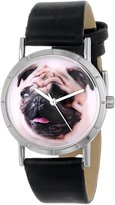 Whimsical Watches Kids' R0130061 Classic Pug Black Leather And Silvertone Photo Watch