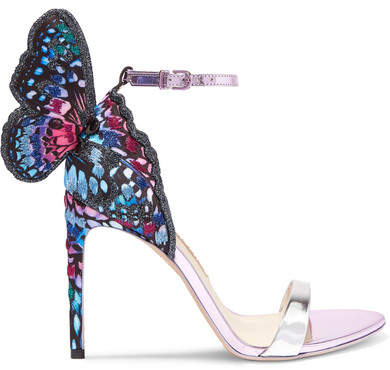 Sophia Webster Chiara Embroidered Satin And Metallic Leather Sandals - Silver