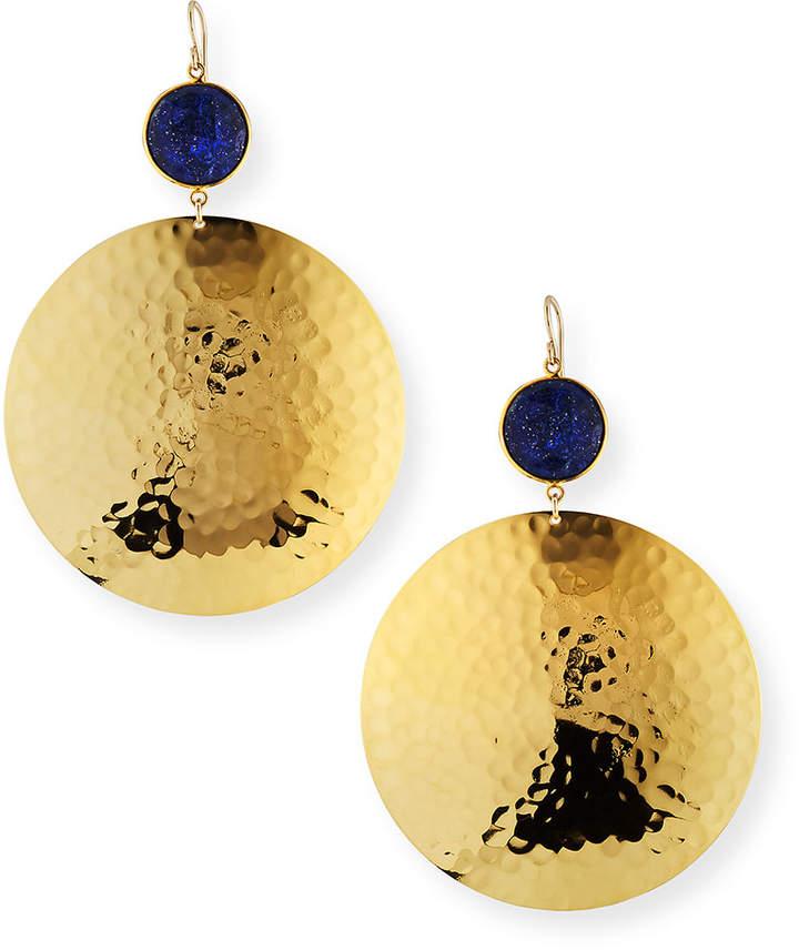 Devon Leigh Lapis Hammered-Disc Drop Earrings