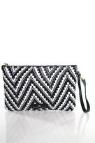 Elaine Turner Designs Black Straw Chevron Print Clutch Handbag Size Small