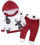 XUNYU Infant Baby Boy Girl Outfits Set Deer Print Plaid Hoodies Tops Long Pants 2pcs