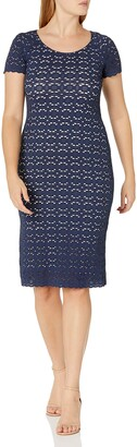 Ronni Nicole Women's Short Sleeve lace midi Sheath Dress Navy/Nude 10