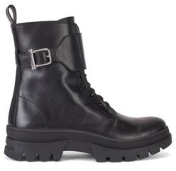 HUGO BOSS Biker-inspired boots in smooth Italian leather