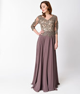 Unique Vintage Mocha Embellished Three Quarter Sleeve Long Dress