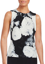 Calvin Klein Petite Pleated Floral Shell